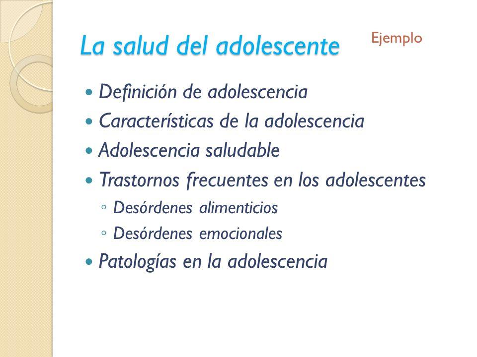 La salud del adolescente