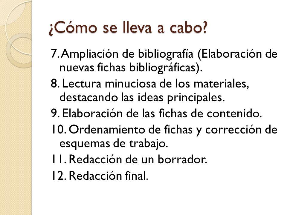 ¿Cómo se lleva a cabo 7. Ampliación de bibliografía (Elaboración de nuevas fichas bibliográficas).