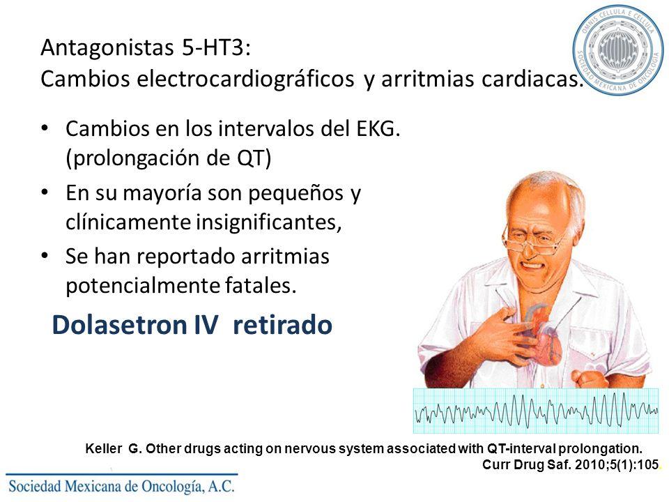 Antagonistas 5-HT3: Cambios electrocardiográficos y arritmias cardiacas.