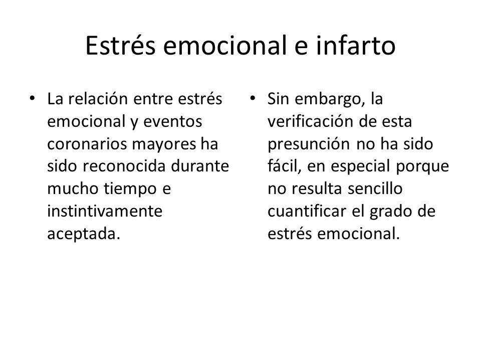 Estrés emocional e infarto