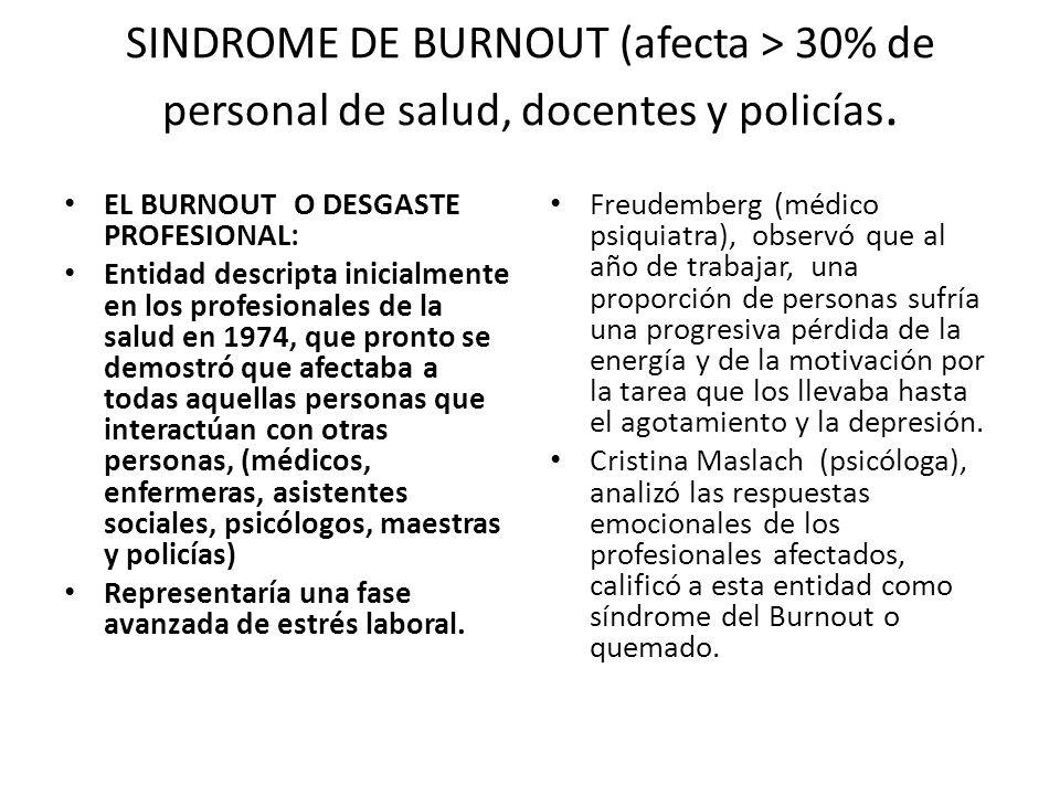 SINDROME DE BURNOUT (afecta > 30% de personal de salud, docentes y policías.