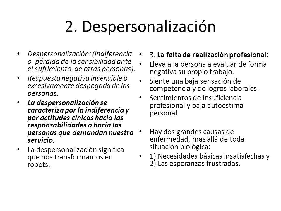 2. Despersonalización Despersonalización: (indiferencia o pérdida de la sensibilidad ante el sufrimiento de otras personas).