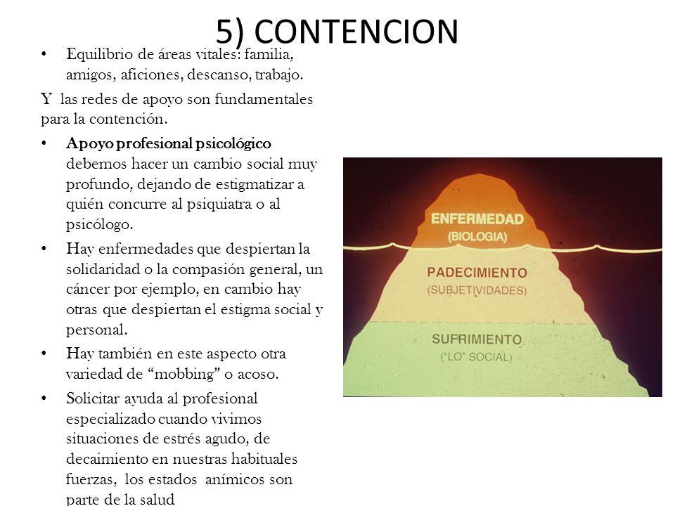 5) CONTENCION Equilibrio de áreas vitales: familia, amigos, aficiones, descanso, trabajo.