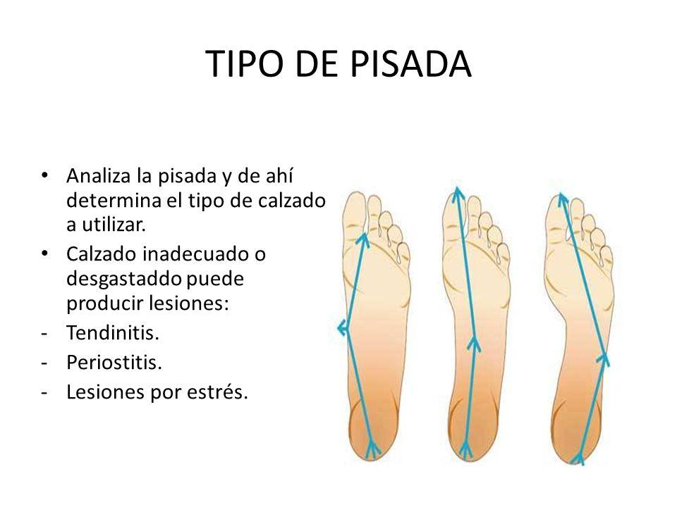 TIPO DE PISADA Analiza la pisada y de ahí determina el tipo de calzado a utilizar. Calzado inadecuado o desgastaddo puede producir lesiones: