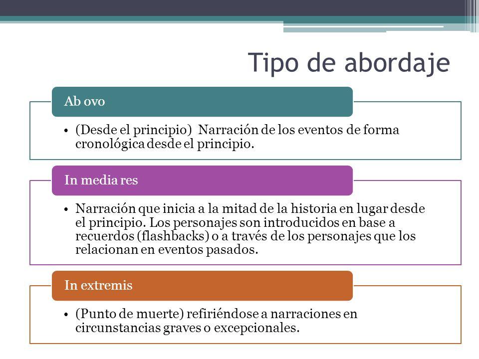 Tipo de abordaje (Desde el principio) Narración de los eventos de forma cronológica desde el principio.