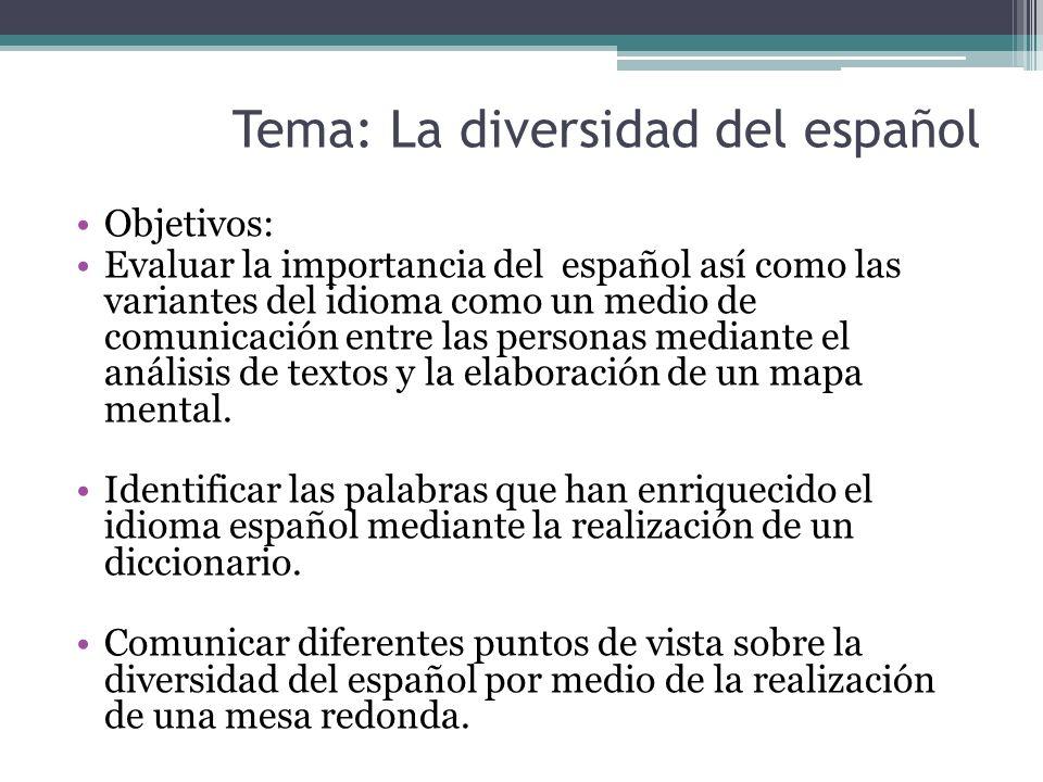 Tema: La diversidad del español