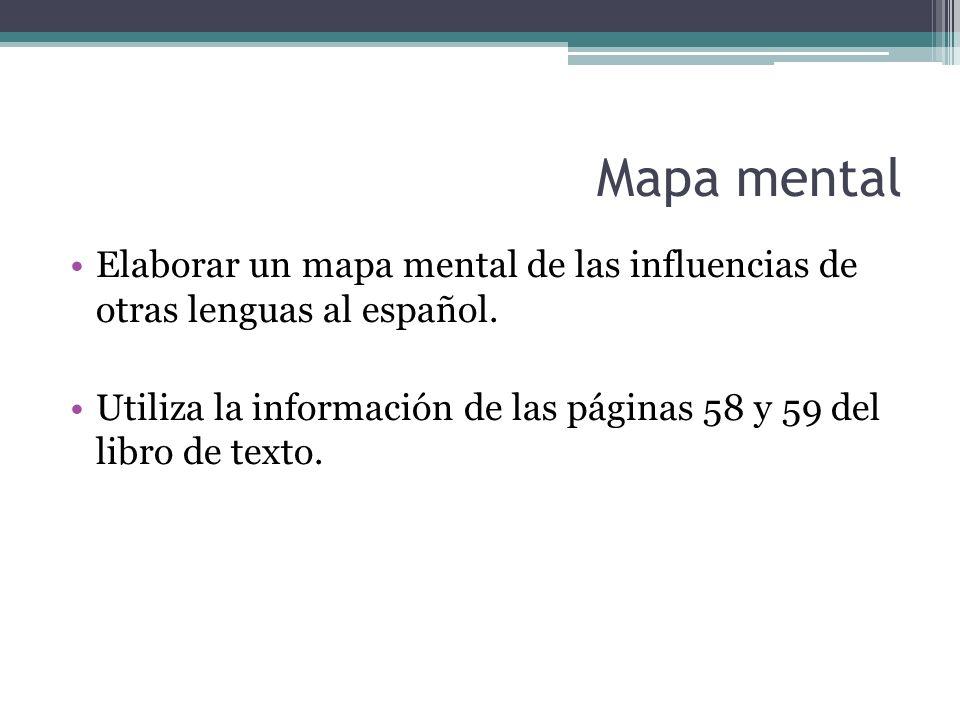Mapa mental Elaborar un mapa mental de las influencias de otras lenguas al español.
