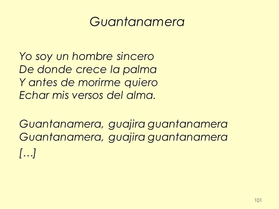 Guantanamera Yo soy un hombre sincero De donde crece la palma Y antes de morirme quiero Echar mis versos del alma.