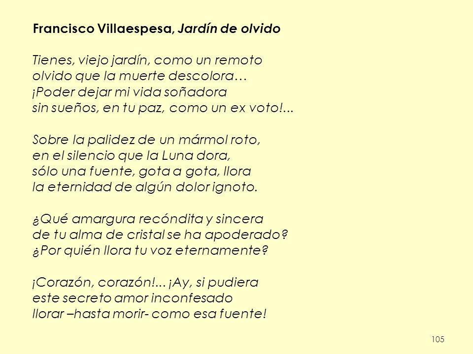 Francisco Villaespesa, Jardín de olvido
