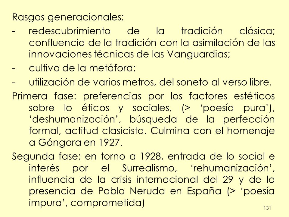 Rasgos generacionales: