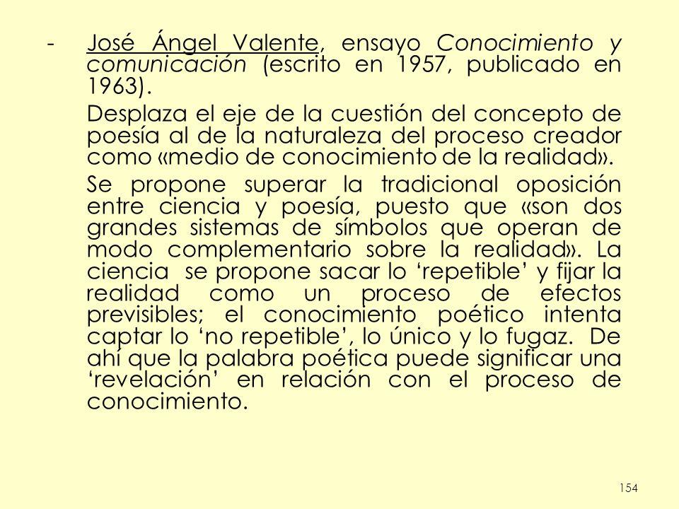 José Ángel Valente, ensayo Conocimiento y comunicación (escrito en 1957, publicado en 1963).