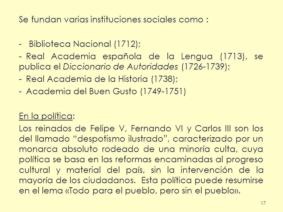 Se fundan varias instituciones sociales como :