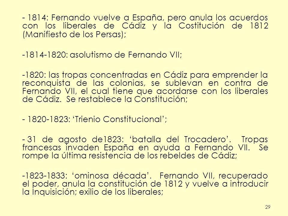 1814-1820: asolutismo de Fernando VII;