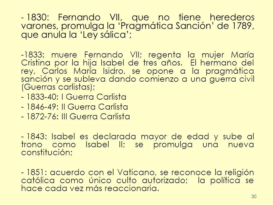 - 1872-76: III Guerra Carlista