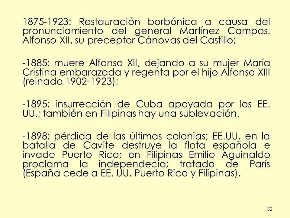 1875-1923: Restauración borbónica a causa del pronunciamiento del general Martínez Campos. Alfonso XII, su preceptor Cánovas del Castillo;
