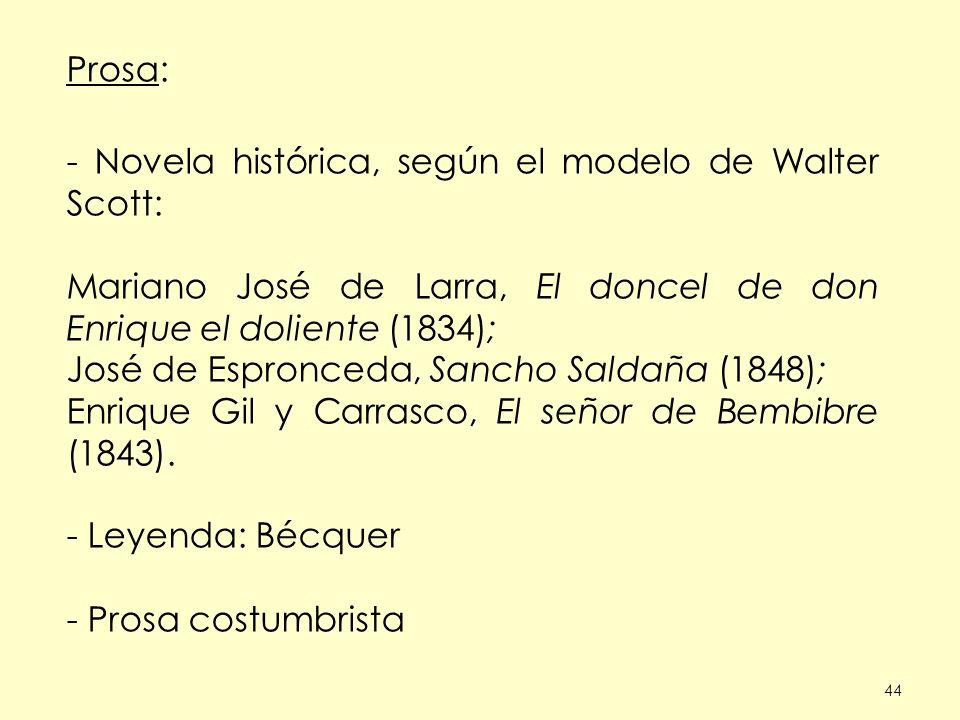 - Novela histórica, según el modelo de Walter Scott: