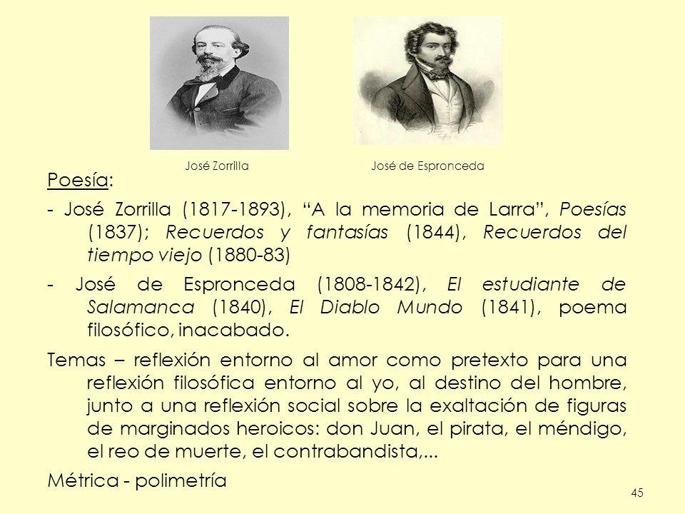 Poesía: - José Zorrilla (1817-1893), A la memoria de Larra , Poesías (1837); Recuerdos y fantasías (1844), Recuerdos del tiempo viejo (1880-83)