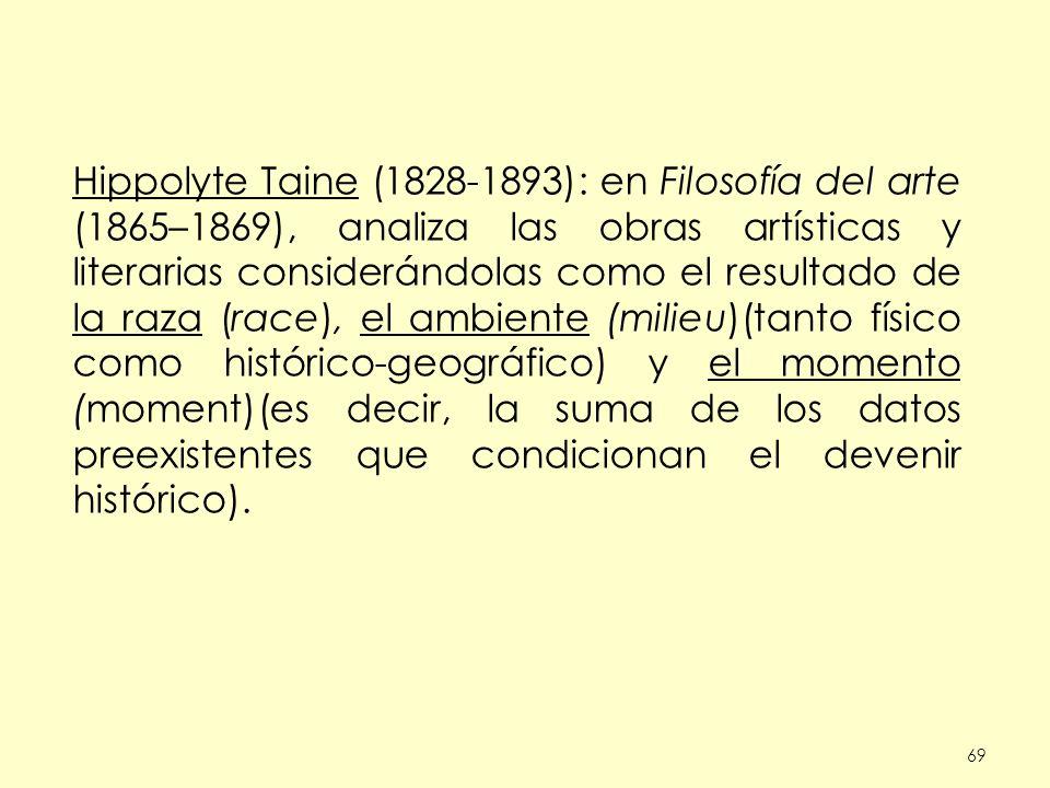 Hippolyte Taine (1828-1893): en Filosofía del arte (1865–1869), analiza las obras artísticas y literarias considerándolas como el resultado de la raza (race), el ambiente (milieu)(tanto físico como histórico-geográfico) y el momento (moment)(es decir, la suma de los datos preexistentes que condicionan el devenir histórico).