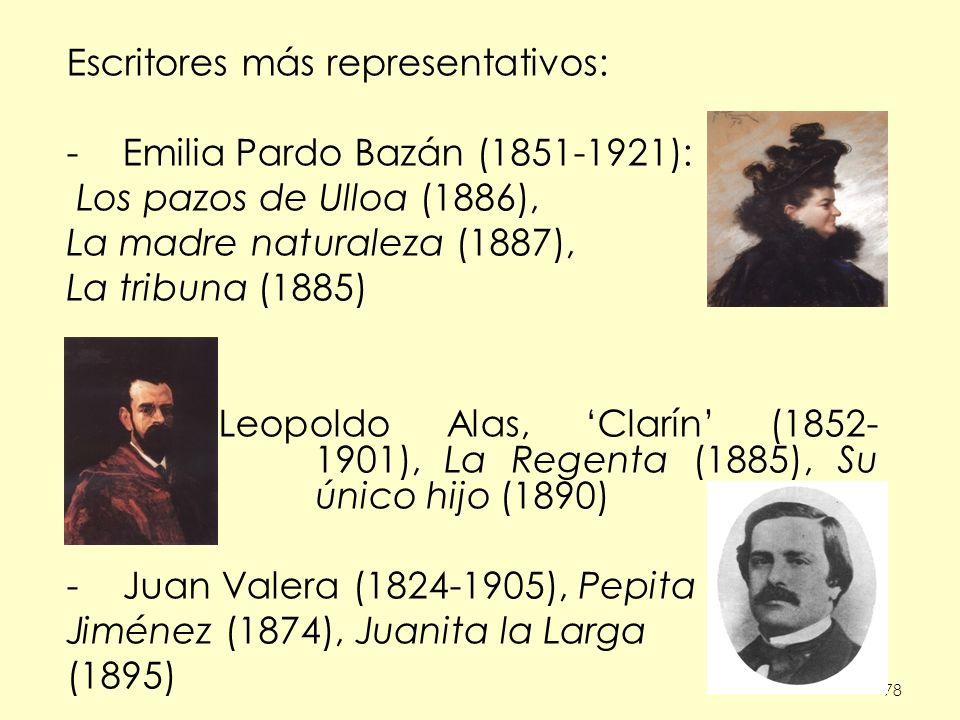Escritores más representativos: Emilia Pardo Bazán (1851-1921):