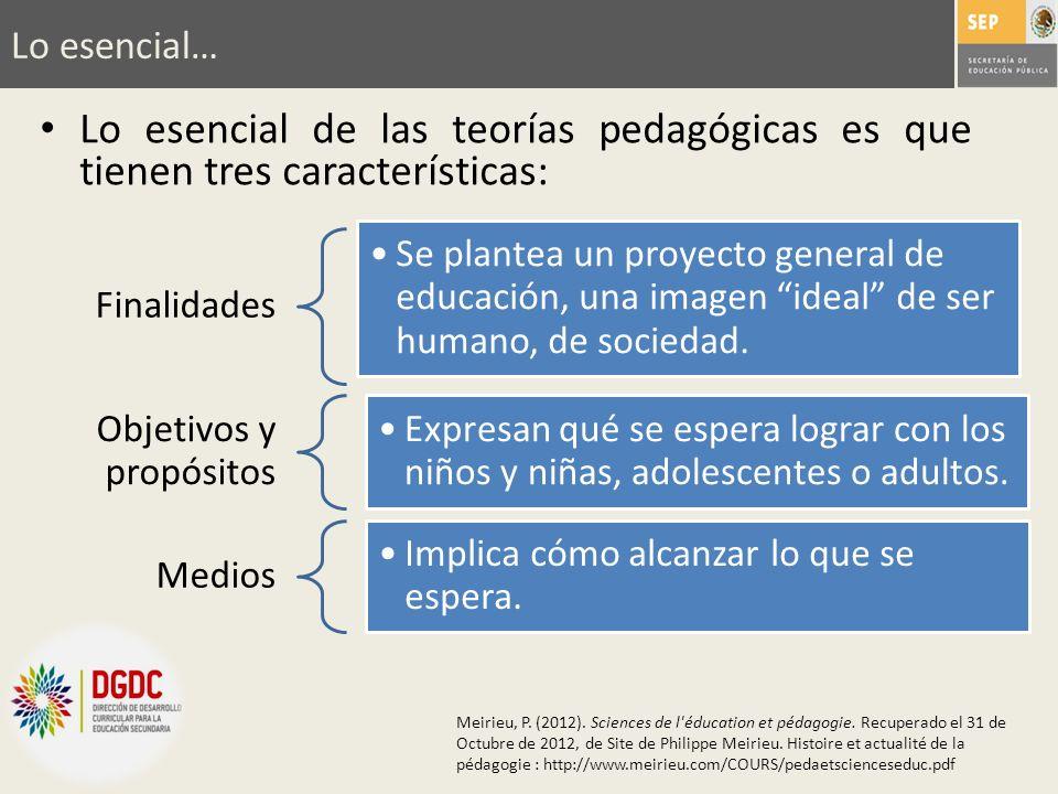 Lo esencial… Lo esencial de las teorías pedagógicas es que tienen tres características: Finalidades.