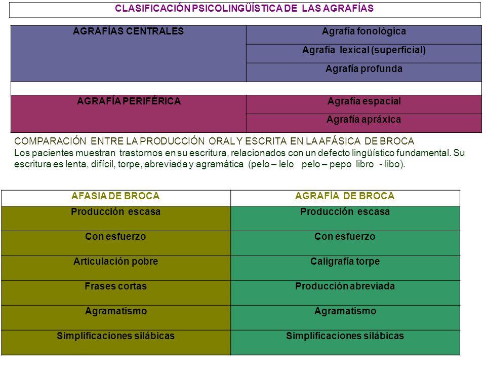 CLASIFICACIÓN PSICOLINGÜÍSTICA DE LAS AGRAFÍAS AGRAFÍAS CENTRALES