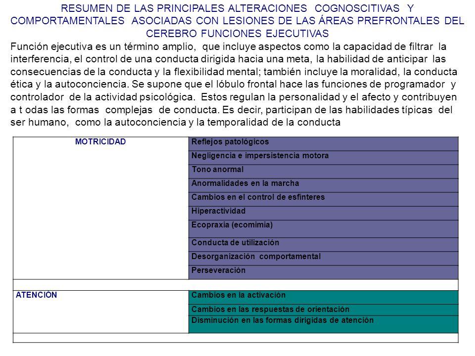 RESUMEN DE LAS PRINCIPALES ALTERACIONES COGNOSCITIVAS Y COMPORTAMENTALES ASOCIADAS CON LESIONES DE LAS ÁREAS PREFRONTALES DEL CEREBRO FUNCIONES EJECUTIVAS