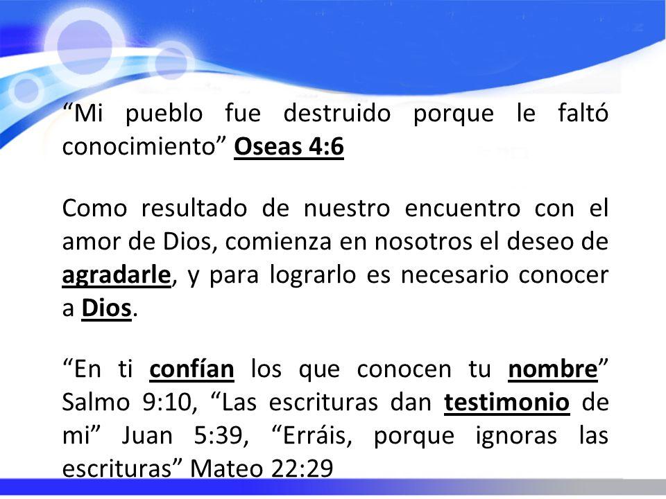 Mi pueblo fue destruido porque le faltó conocimiento Oseas 4:6