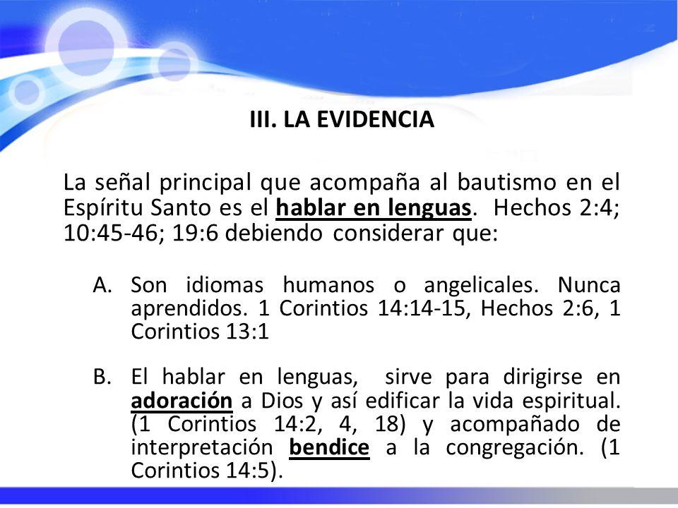 III. LA EVIDENCIA