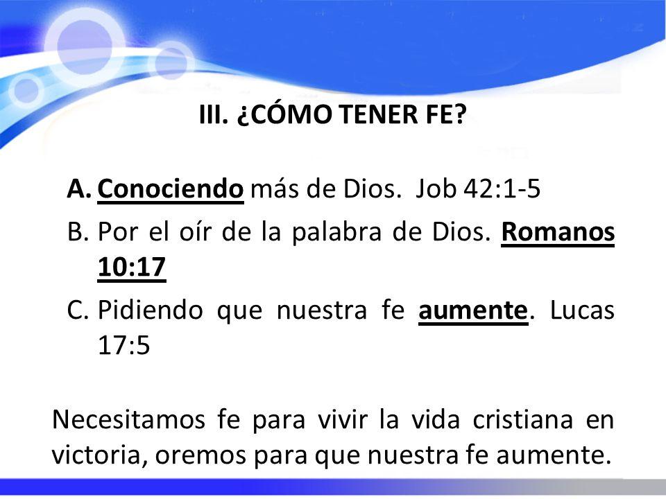 Conociendo más de Dios. Job 42:1-5