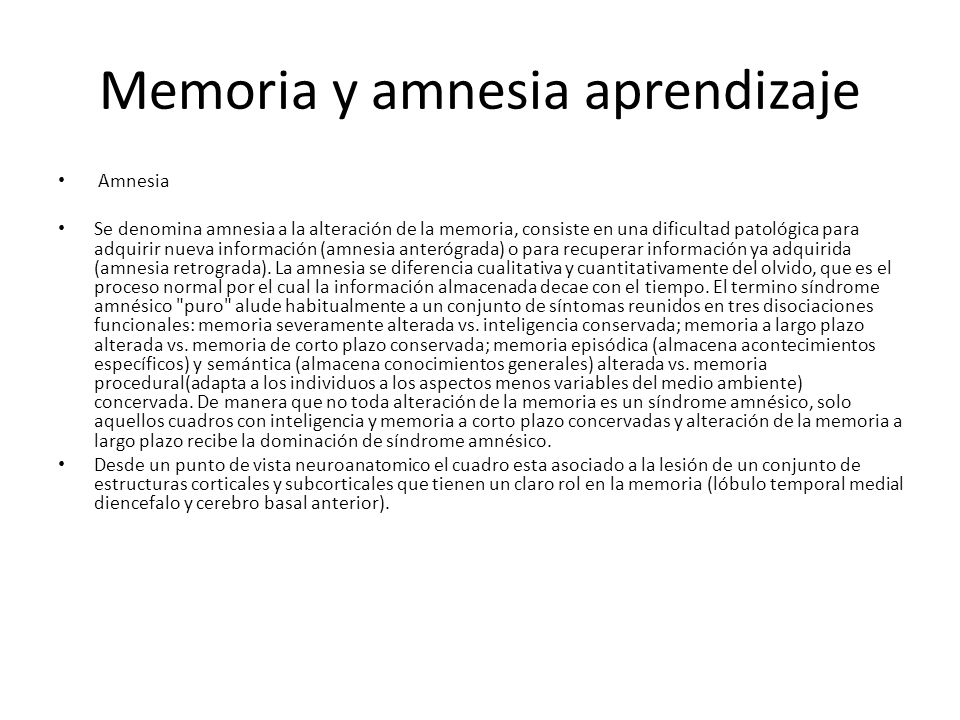 Memoria y amnesia aprendizaje