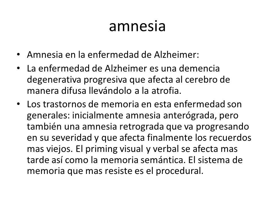amnesia Amnesia en la enfermedad de Alzheimer: