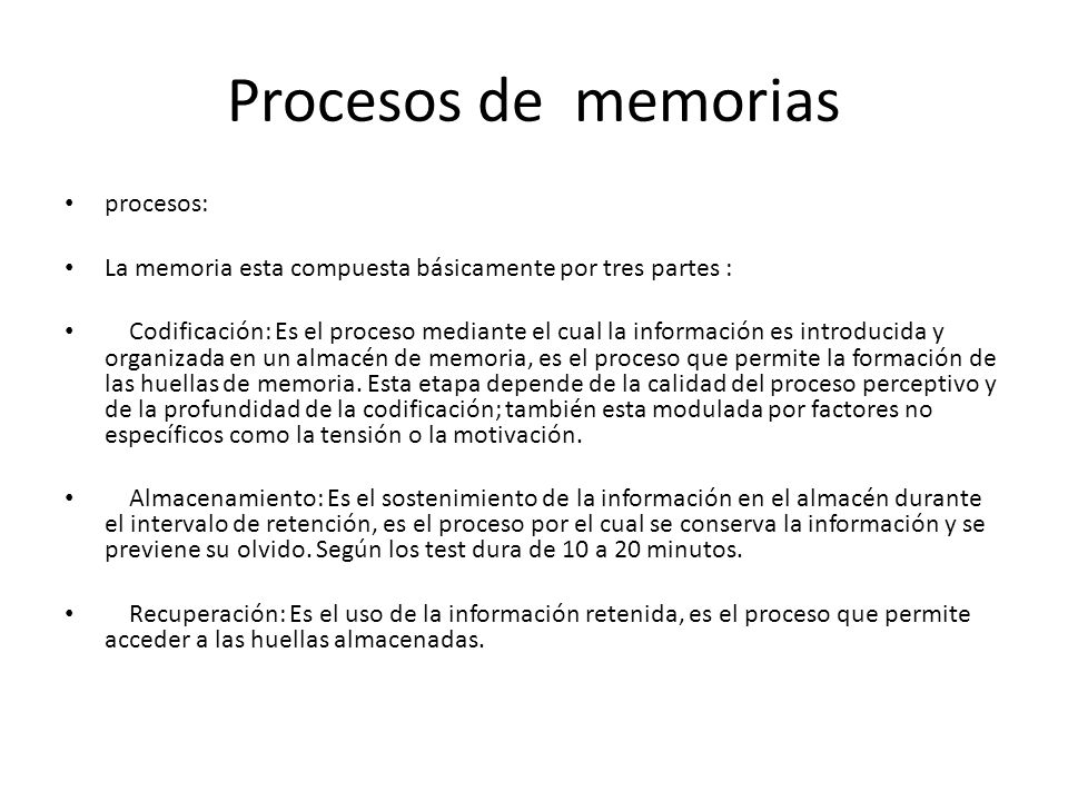 Procesos de memorias procesos: