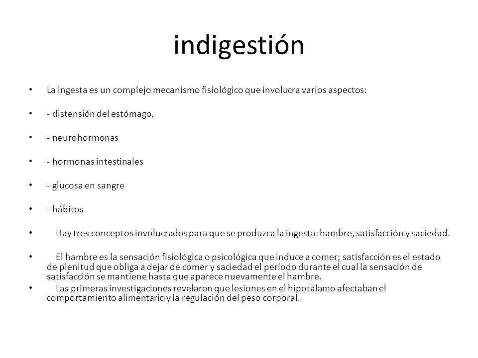 indigestión La ingesta es un complejo mecanismo fisiológico que involucra varios aspectos: - distensión del estómago,
