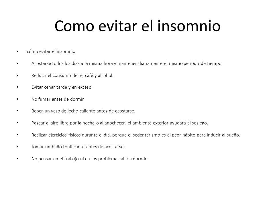 Como evitar el insomnio