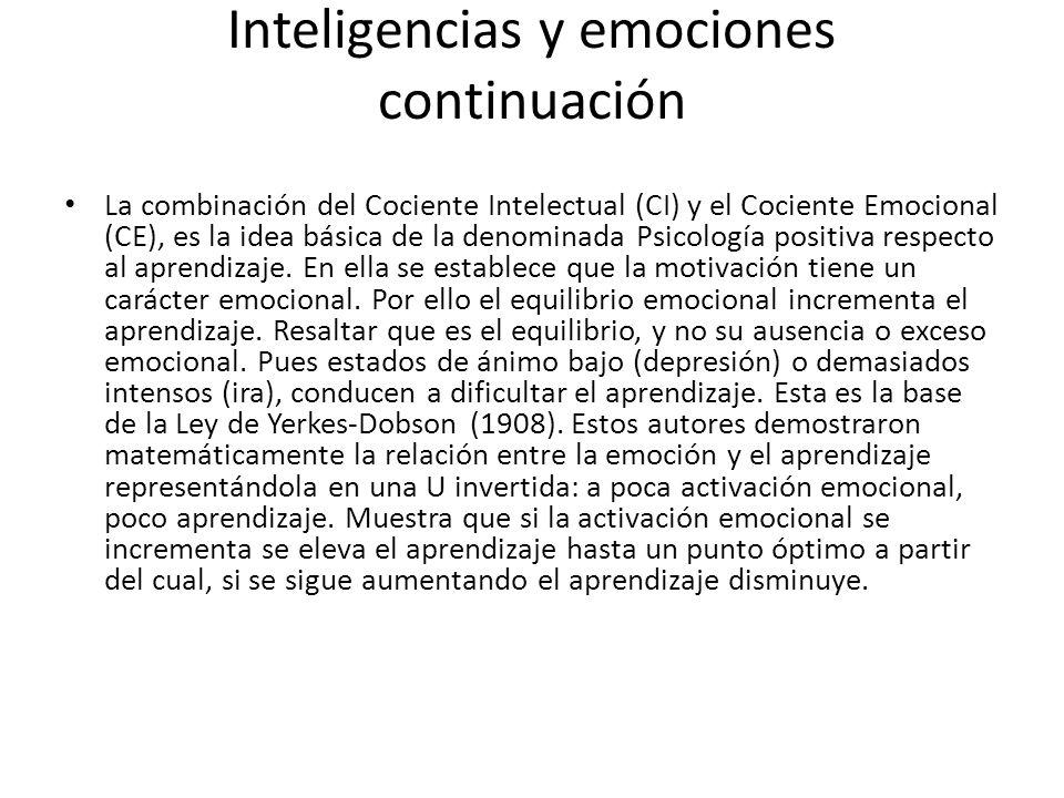 Inteligencias y emociones continuación