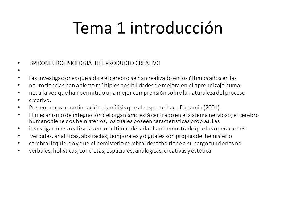 Tema 1 introducción SPICONEUROFISIOLOGIA DEL PRODUCTO CREATIVO