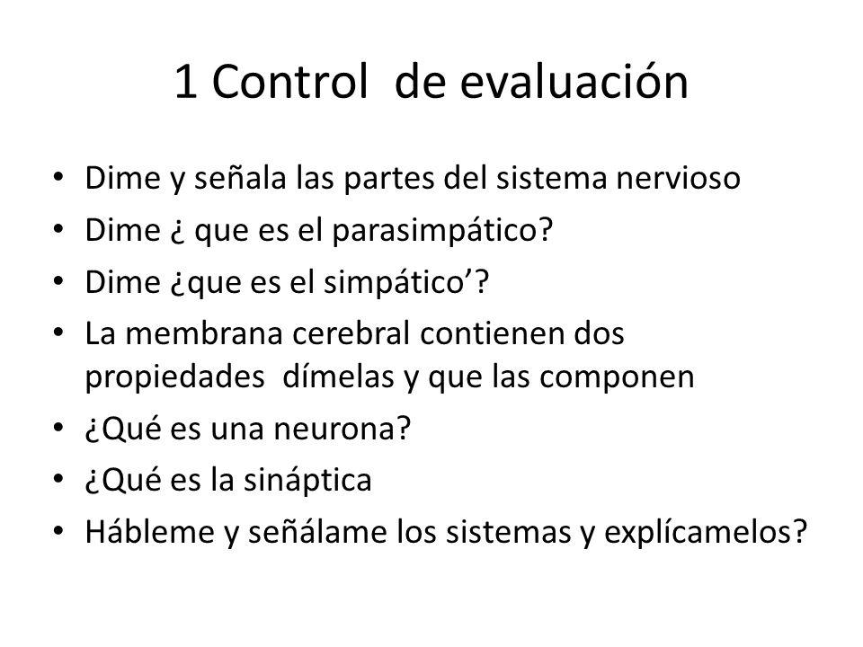 1 Control de evaluación Dime y señala las partes del sistema nervioso