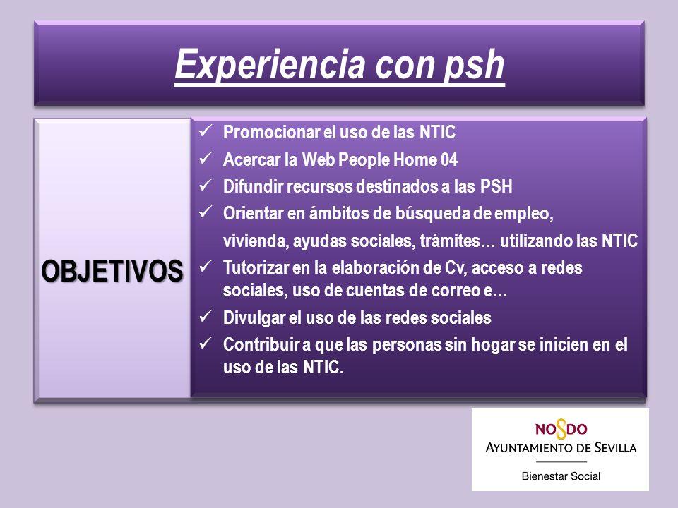 Experiencia con psh OBJETIVOS Promocionar el uso de las NTIC