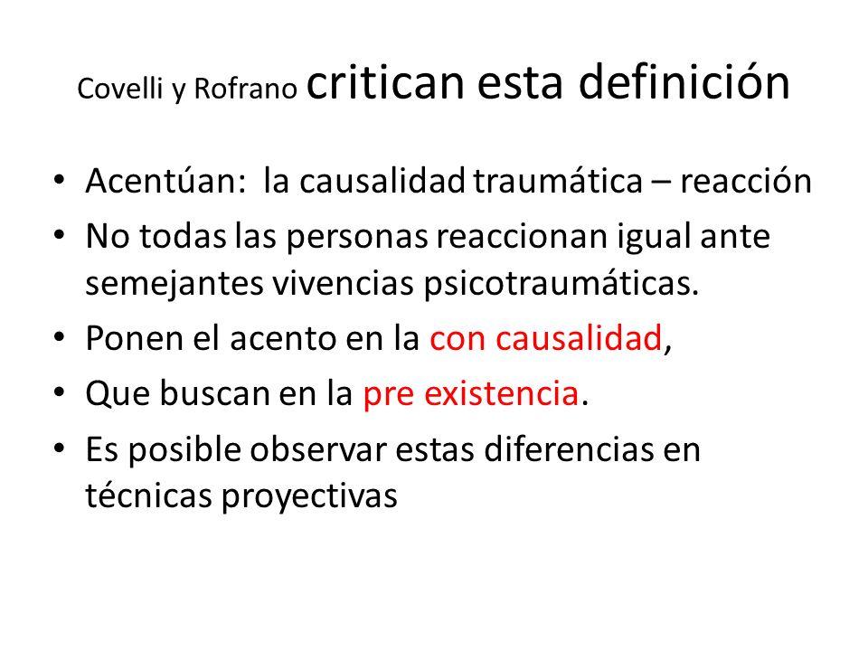 Covelli y Rofrano critican esta definición