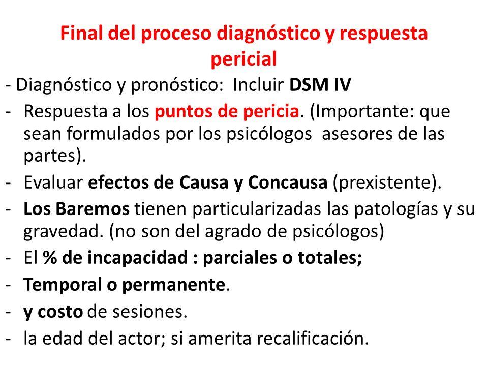 Final del proceso diagnóstico y respuesta pericial