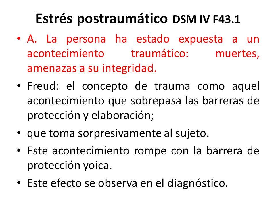 Estrés postraumático DSM IV F43.1