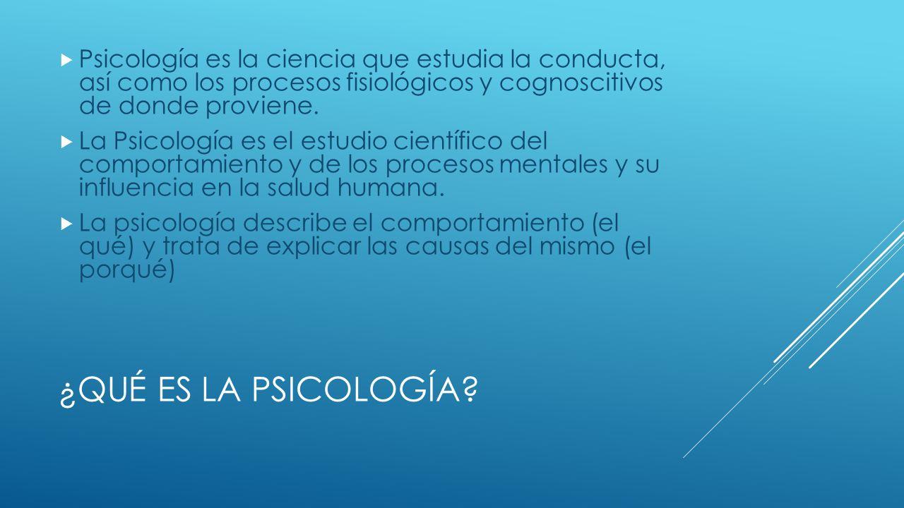 Psicología es la ciencia que estudia la conducta, así como los procesos fisiológicos y cognoscitivos de donde proviene.