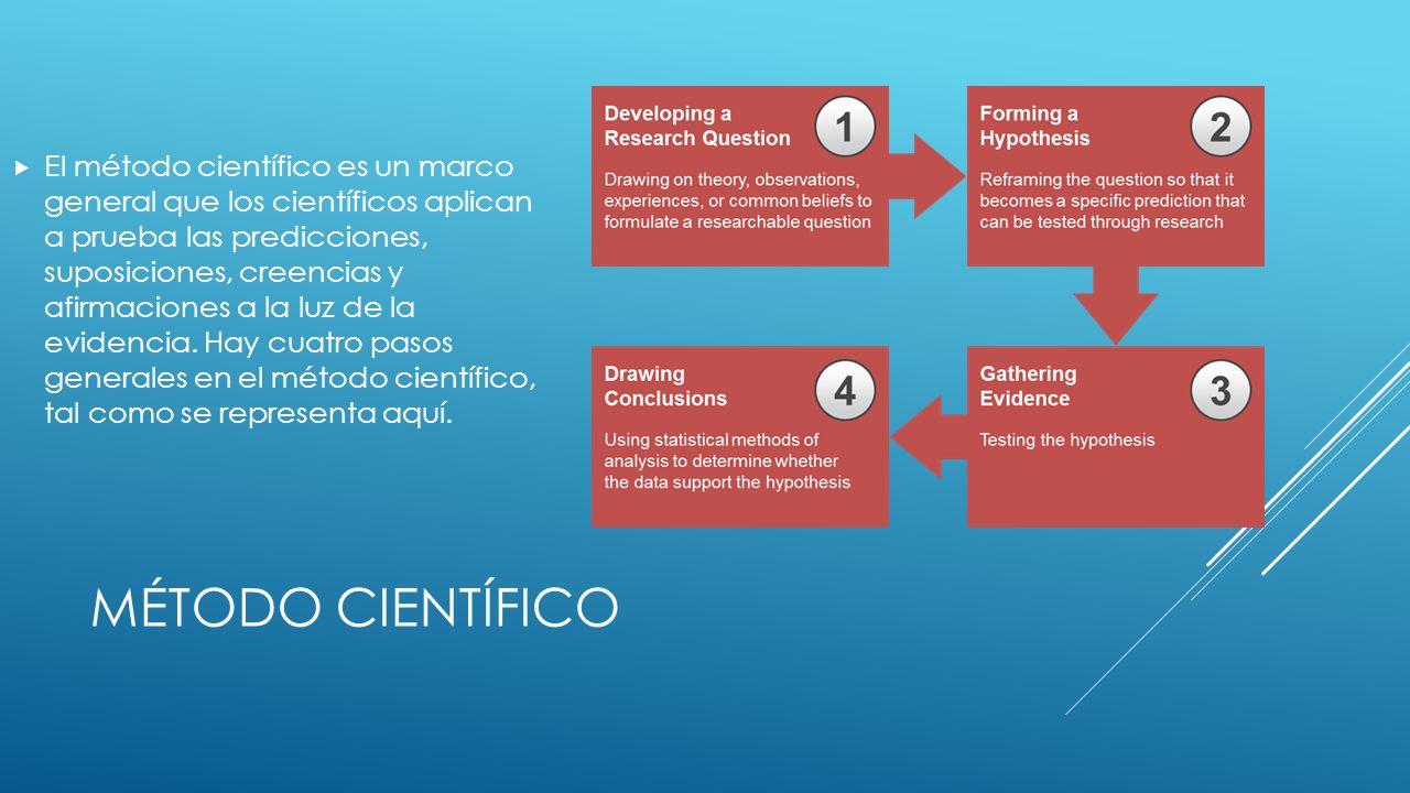 El método científico es un marco general que los científicos aplican a prueba las predicciones, suposiciones, creencias y afirmaciones a la luz de la evidencia. Hay cuatro pasos generales en el método científico, tal como se representa aquí.