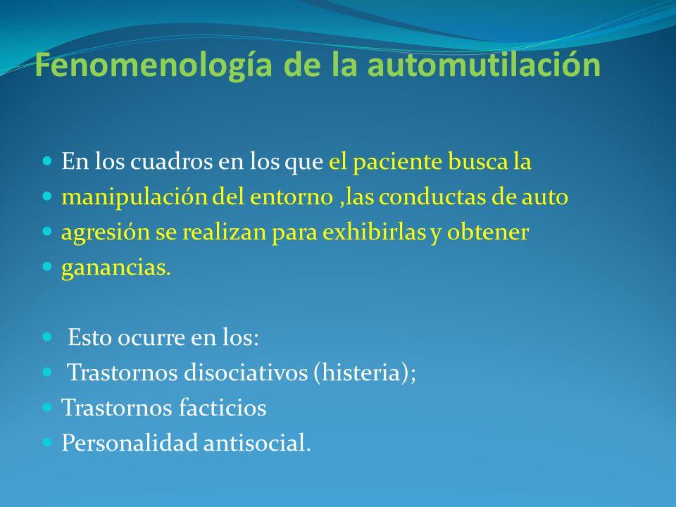 Fenomenología de la automutilación