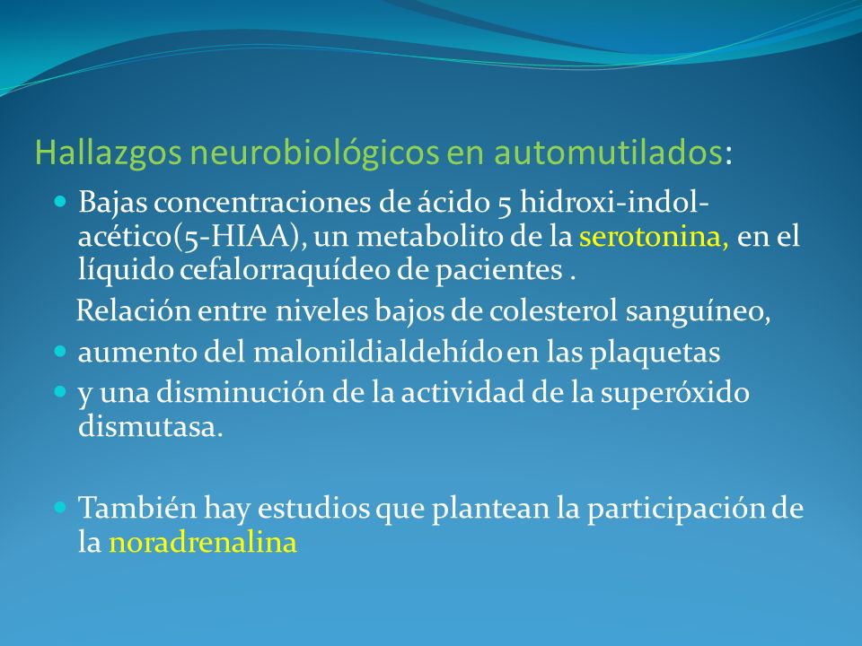 Hallazgos neurobiológicos en automutilados: