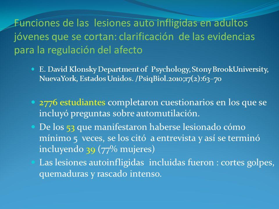 Funciones de las lesiones auto infligidas en adultos jóvenes que se cortan: clarificación de las evidencias para la regulación del afecto