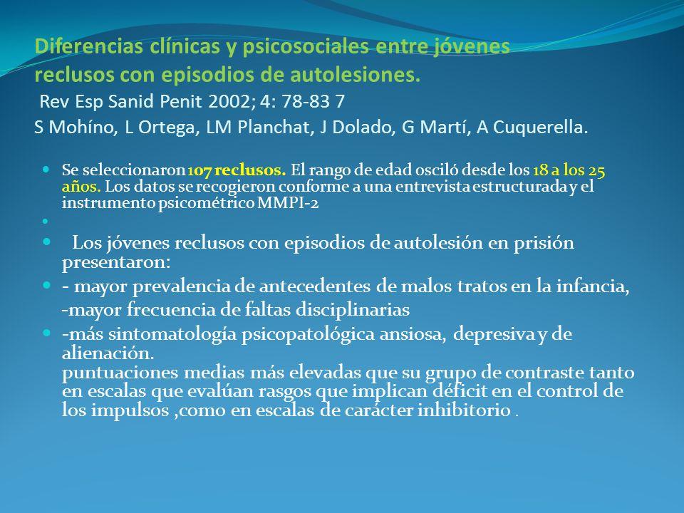 Diferencias clínicas y psicosociales entre jóvenes reclusos con episodios de autolesiones. Rev Esp Sanid Penit 2002; 4: 78-83 7 S Mohíno, L Ortega, LM Planchat, J Dolado, G Martí, A Cuquerella.