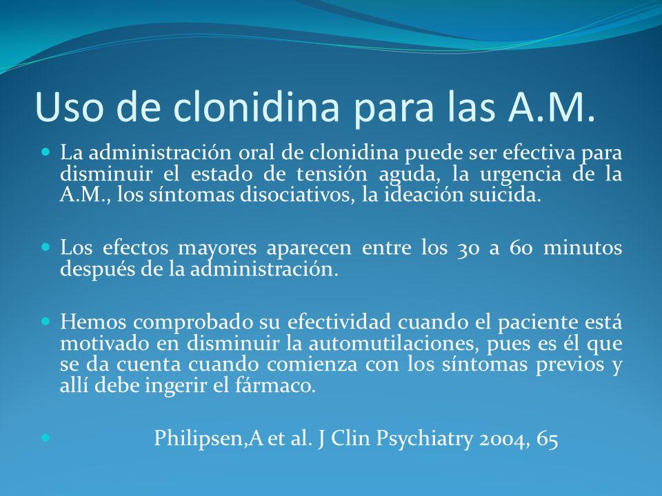 Uso de clonidina para las A.M.