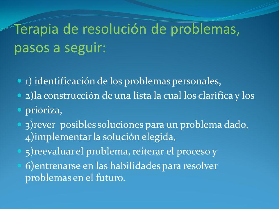 Terapia de resolución de problemas, pasos a seguir: