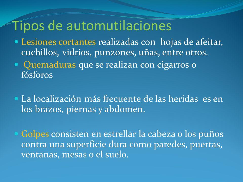 Tipos de automutilaciones
